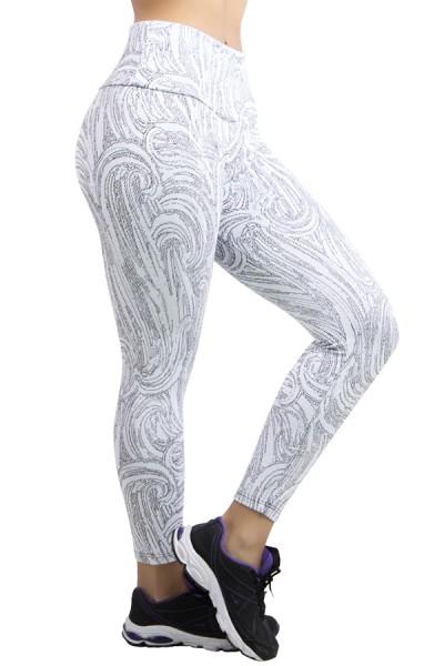 Calça Legging Cós Alto Tecido Jacquard | Ref: F565