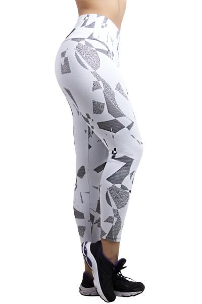 Calça Legging Cós Alto Tecido Jacquard | Ref: F561