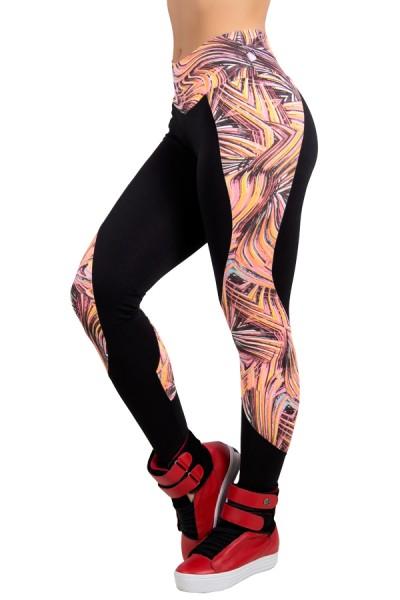 Calça Legging Lisa com Detalhe Estampado