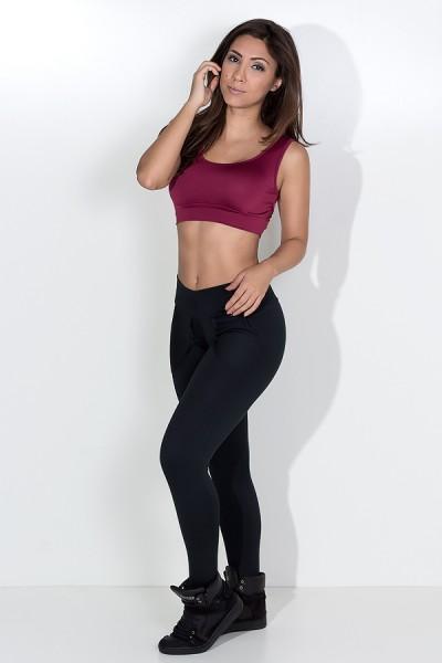 Calça Legging Lisa com Bolso (Preto) | Ref: KS-F146-001