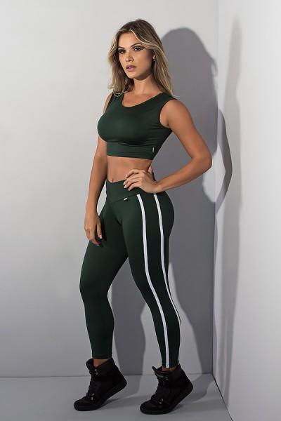 Legging Cós Baixo com Duas Listras (Verde Escuro) | Ref: KS-F654-006