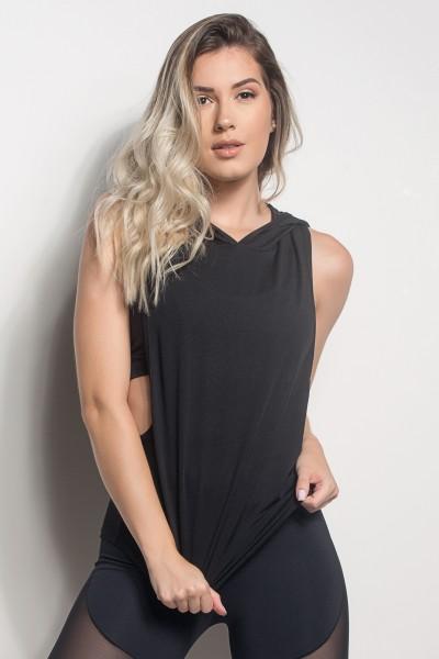 Camiseta Regata Mullet Dry Fit Com Capuz (Preto) | Ref: CMT107-001/000/