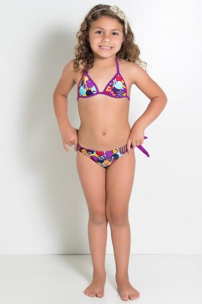 Biquini Infantil Estampado de Amarrar com Bojo (Frutas Roxas e Vermelhas) | Ref: DVBQ27-004