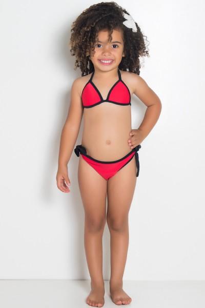 Biquini Infantil Liso de Amarrar com Bojo (Vermelho) | Ref: DVBQ30-001