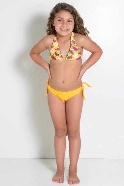 Biquini Infantil Cortininha com Calcinha Lisa (Amarelo com Melancia / Amarelo) | Ref: DVBQ33-001