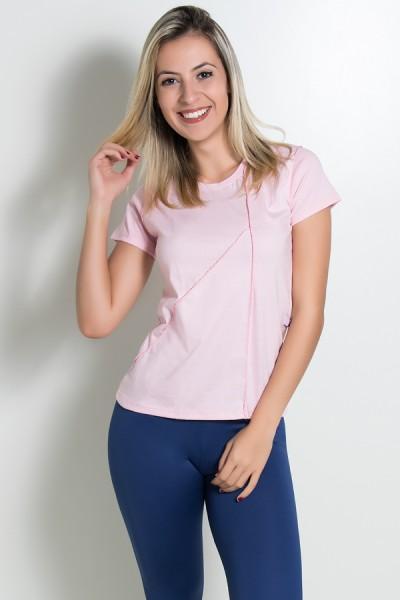 Camiseta de Malha com Ponto de Cobertura (Rosa) | Ref: KS-F1034-003