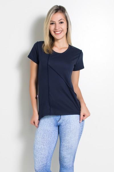 Camiseta de Malha com Ponto de Cobertura (Azul Marinho) | Ref: KS-F1034-006