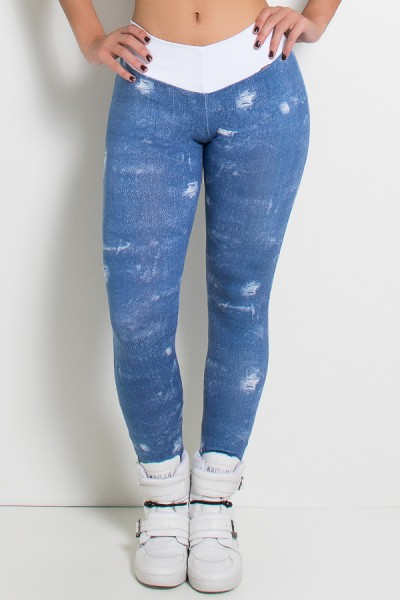 Legging Jeans Suplex com Cós Branco | Ref: KS-F1079-001