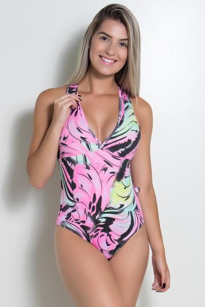 Body Nadador Costas Abertas (Preto com Rosa e Verde) | Ref: KS-F11-002