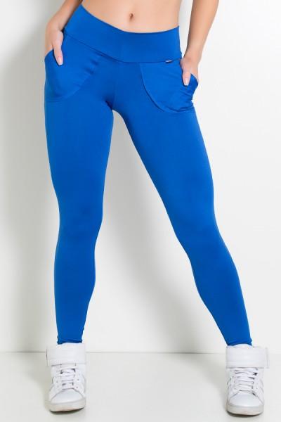 Calça Legging Lisa com Bolso (Azul Royal) | Ref: KS-F146-005