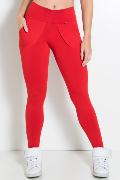 Calça Legging Lisa com Bolso (Vermelho)   Ref: KS-F146-007