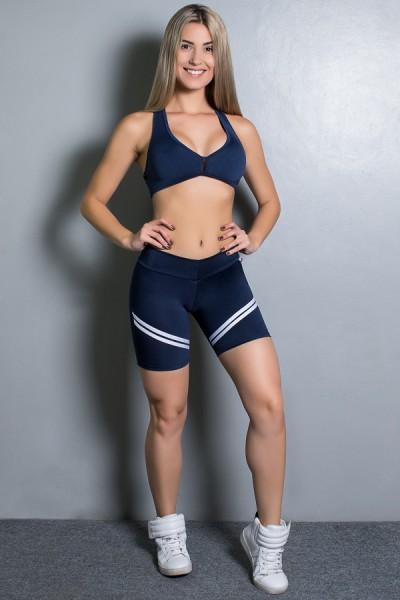 Conjunto Fitness Top + Short Listras (Azul Marinho com Branco) | Ref: KS-F1498-002