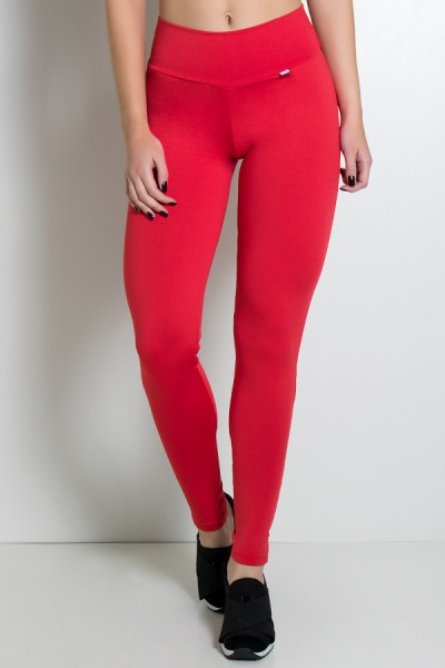 Calça Legging Lisa com Fecho na Perna (Vermelho) | Ref: KS-F157-006