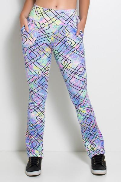 Calça Legging Bailarina Estampada (Riscos Coloridos com Traços Pretos) | Ref: KS-F162-001