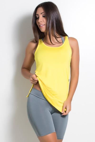 Camiseta de Microlight com Detalhe Lateral (Amarelo) | Ref: KS-F1662-007
