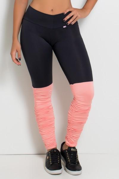 Calça Legging Duas Cores com Perna Franzida (Preto / Coral Tandy) | Ref: KS-F1792-005