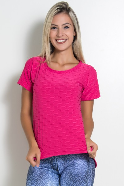 Camiseta Tecido Bolha Fitness Mullet (Rosa Pink)   Ref: KS-F199-002