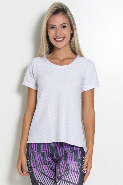 Camiseta Tecido Bolha Fitness Mullet (Branco) | Ref: KS-F199-004