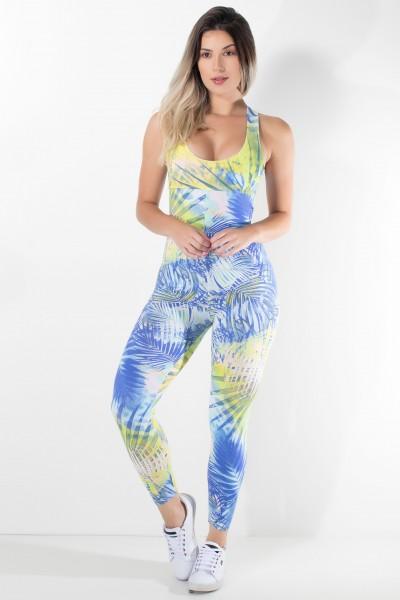 Macacão Fitness Viviane (Folhagem Verde Limão e Azul) | Ref: KS-F202-001