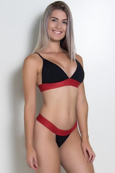 Conjunto Top e Calcinha Fio Lisa com Elástico (Preto / Vermelho) | Ref: KS-F2245-001