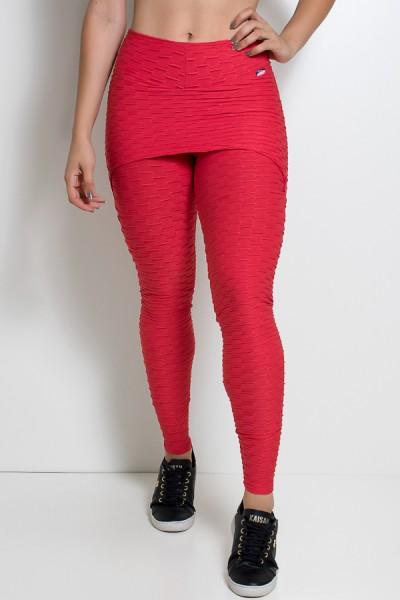 Calça Saia Tecido Bolha (Vermelho) | Ref: KS-F225-008