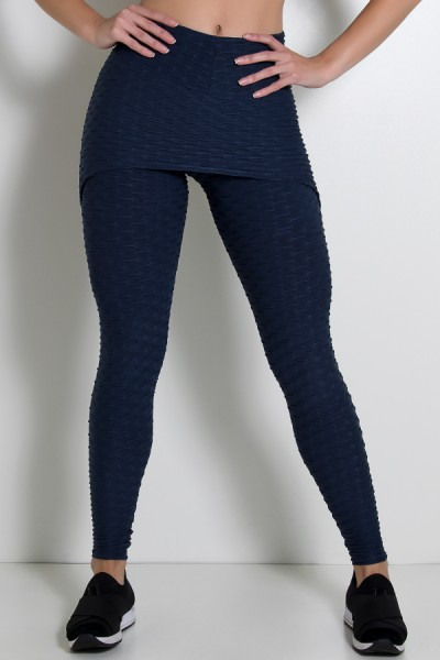 Calça Saia Tecido Bolha (Azul Marinho) | Ref: KS-F225-012