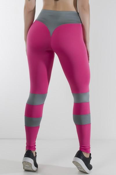 Calça Bumbum na Nuca Duas Cores (Rosa Pink / Cinza)   Ref: KS-F2250-003