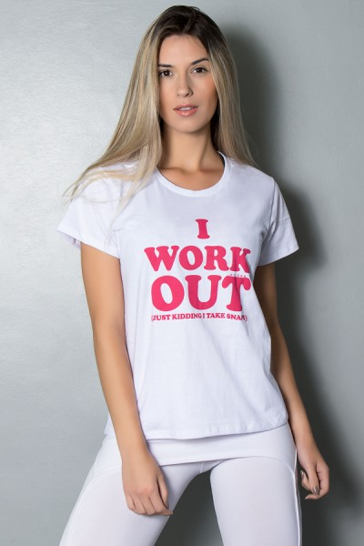 Camiseta Feminina (I Work Out) (Branco) | Ref.: KS-F238-002