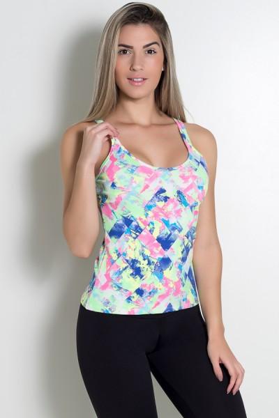 Camiseta Estampada Hanna (Losango Azul Rosa e Verde Limão) | Ref: KS-F240-002