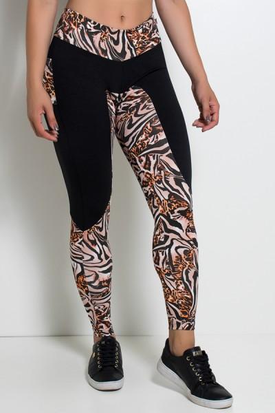 Calça Estampada com Detalhe Liso e Bolso traseiro Estampado | Ref: KS-F248