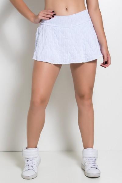 Short Saia Isabelle Tecido Bolha (Branco) | Ref: KS-F265-011
