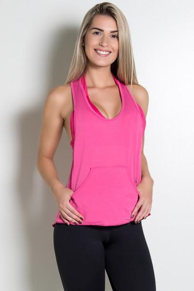 Camiseta Dry Fit com Bolso Marissol (Rosa Pink) | Ref: KS-F273-002