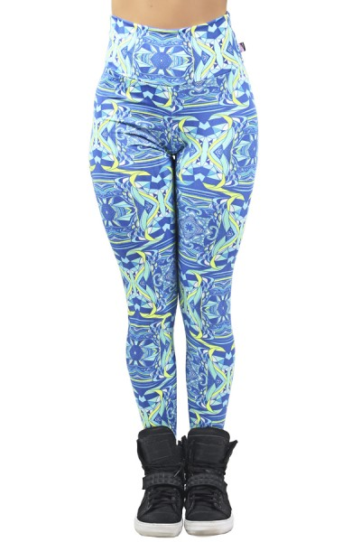 Legging Estampada Abstrato Azul e Verde Limão | Ref: CA477