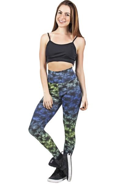 Legging Estampada Verde e Azul com Listras Pretas | Ref: CA441