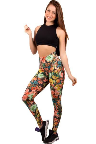 Legging Estampada Floral Laranja e Verde Água | Ref: CA227