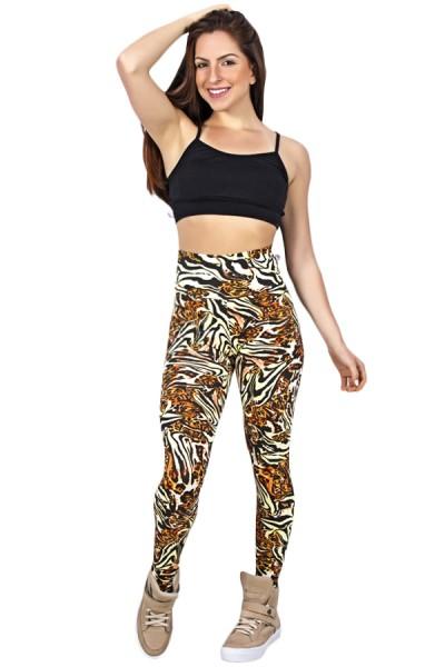 Legging Estampada Tigre Caramelo com Laranja e Preto | Ref: CA405