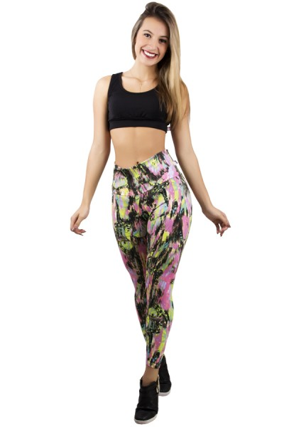 Legging Estampada Manchado Preto Verde e Rosa Flúor | Ref: CA348