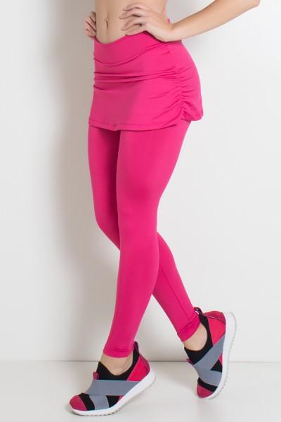 Calça Legging Lisa com Saia Franzida (Rosa Pink)   Ref: KS-F315-006