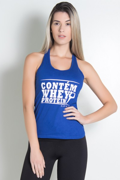 Camiseta de Malha Nadador (Contém whey protein) (Azul Royal) | Ref: KS-F317-004