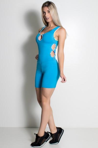 Macaquinho Sabrina Liso com Viés Estampado (Azul Celeste) | Ref: KS-F389-003Macaquinho Sabrina Liso com Viés Estampado (Azul Celeste) | Ref: KS-F389-003
