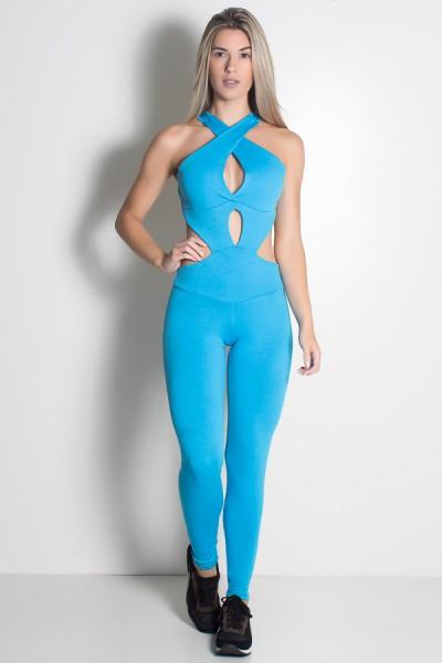 Macacão Scarlet Liso (Azul Celeste) | Ref: KS-F478-003