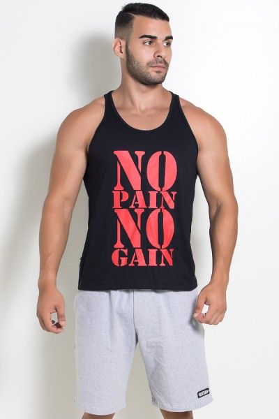 Camiseta Regata (No Pain No Gain) (Preto) | Ref: KS-F524-002