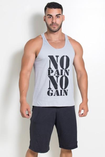 Camiseta Regata (No Pain No Gain) (Cinza)   Ref: KS-F524-004