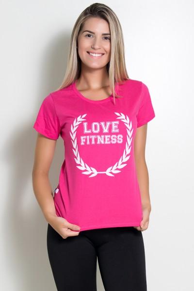 Camiseta Feminina Love Fitness (Rosa Pink) | Ref: BES003-006