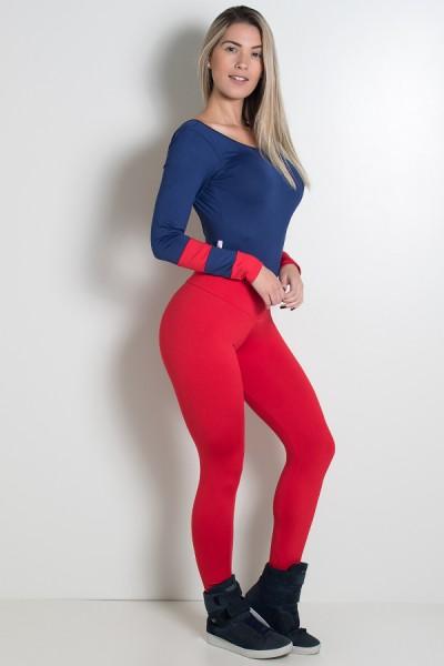 Conjunto Body Duas Cores + Calça (Azul Marinho / Vermelho) | Ref: KS-F752-001