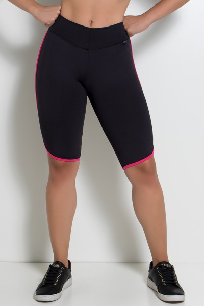 Bermuda Ciclista Preta com Viés Rosa Pink | Ref: KS-F977-001