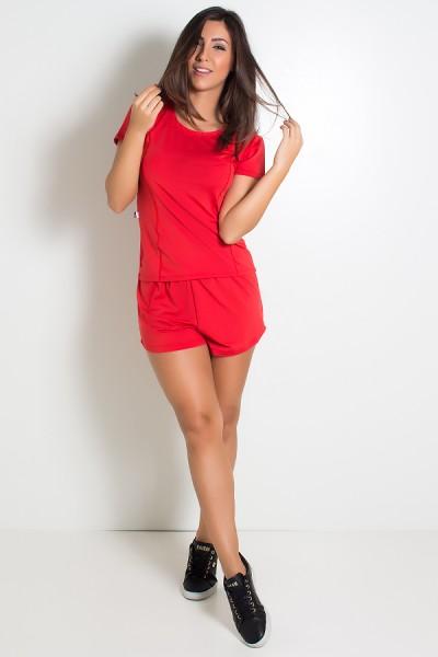 Conjunto Camisa + Short de Microlight (Vermelho) | Ref: KS-F861-007