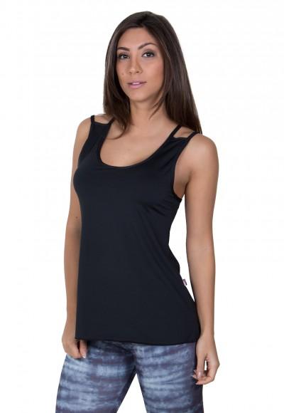 Camiseta de Microlight Nadador com Alça Dupla (Preto) | Ref: F1022-005