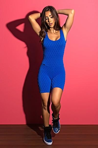 Macaquinho Angelica Tecido Bolha (Azul Royal) | Ref: KS-F386-001