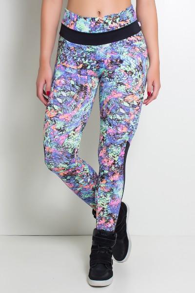 Calça Estampada com Detalhe Liso Grazi (Mosaico Azul Verde e Rosa / Preto) | Ref: KS-F251-002